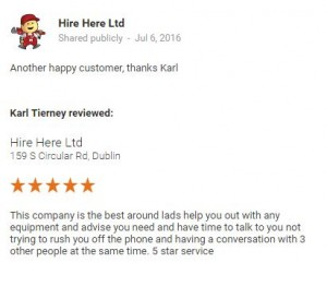 Hire Here Google+ Customer Review July 2016