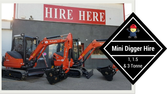Mini Digger Hire, Dublin, 3 sizes available