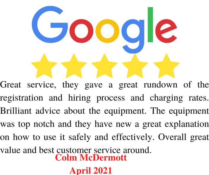 Hire Here Ltd Dublin Google 5 Star Review April 2021