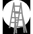 Folding telescopic ladder A frame configeration